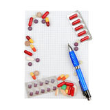 Pills and prescription Stock Images