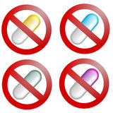 Pills prohibited Stock Photos