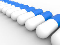 Pills in a row. 3D rendered illustration of multiple pills arranged in a row. The composition is  on a white background with shadows Stock Images