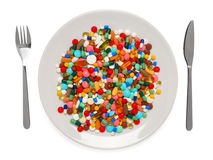 Pills served as a healthy meal stock photography