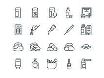 Pills. Set of outline vector icons. Includes such as Gel, Inhaler, Prescription. Syrup and other Royalty Free Stock Photos