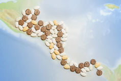 Pills in a shape of a central America. Map of central America made of pills royalty free stock image