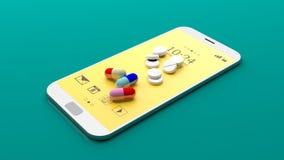 Pills on a smartphone. 3d illustration Stock Photos