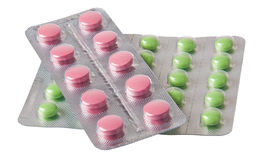 Pills som packas i blåsor Royaltyfri Bild