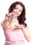 pills som tar kvinnan Arkivbild