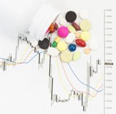 Pills spilling on stock chart Royalty Free Stock Photos