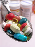 Pills on spoon 2 Royalty Free Stock Photography