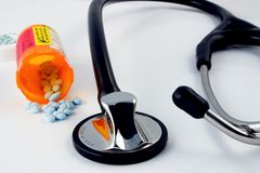 Pills and Stethoscope Royalty Free Stock Photography