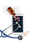 Pills and Stethoscope with Tablet, Touch Screen Royalty Free Stock Photography