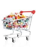Pills in a supermarket shopping trolley Stock Photography