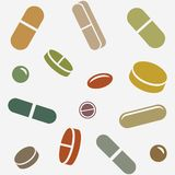 Pills or Supplements Random in Seamless Pattern royalty free illustration