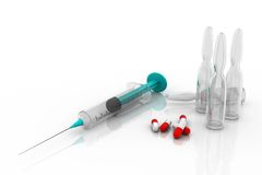 Pills, syringe and ampules Royalty Free Stock Image