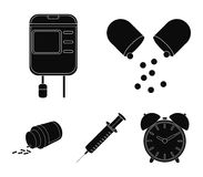 Pills, a syringe, a container of blood.Mtdicine set collection icons in black style vector symbol stock illustration web Stock Image