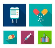 Pills, a syringe, a container of blood.Mtdicine set collection icons in flat style vector symbol stock illustration web. Stock Photo