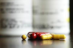 Pills on table royalty free stock images
