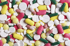 Pills and tablets. Multicolour pills and tablets from top view Royalty Free Stock Photos