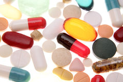 Pills & tablets. Assorted pills, capsules and tablets Royalty Free Stock Photography