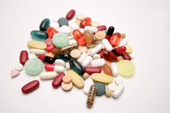 Pills & tablets. Assorted pills and tablets closeup Stock Image