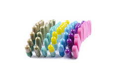 Pills, tablets and capsules Royalty Free Stock Images