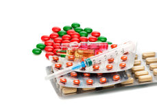 Pills Tablets Capsules and syringes Royalty Free Stock Images