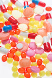 Pills, tablets and drugs. Medical background Royalty Free Stock Photography