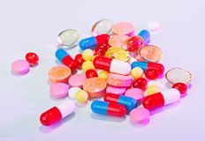 Pills, tablets and drugs heap Stock Photos