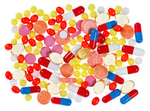 Pills, tablets and drugs, medical background Royalty Free Stock Photos