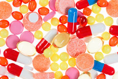 Pills, tablets and drugs, medical background Stock Image