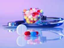 Pills and tablets macro still life Stock Photos