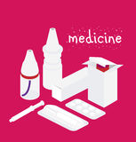 Pills tablets and medicines package isometric icons set vector illustration Royalty Free Stock Photography