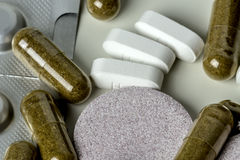 Pills and tablets. Medicines studio macro closeup Stock Image