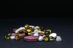 Pills and tablets. Medicines studio macro closeup Royalty Free Stock Photo