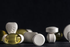 Pills and tablets. Medicines studio macro closeup Royalty Free Stock Photography