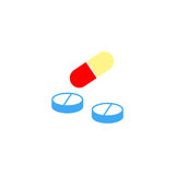 Pills and tablets solid icon, medicine. Vector graphics, a colorful linear pattern on a white background, eps 10 Royalty Free Stock Photos