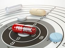 Pills on target and probiotic in the center. Scientific researc royalty free illustration