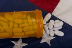 Pills on Texas flag Royalty Free Stock Images
