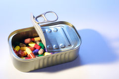 Pills in Tin Can Royalty Free Stock Photos