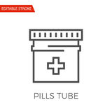 Pills Tube Vector Icon. Pills Tube Thin Line Vector Icon. Flat Icon Isolated on the White Background. Editable Stroke EPS file. Vector illustration Stock Image