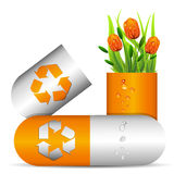 Pills and tulips Stock Photography