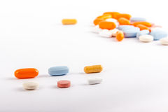 Pills in two rows Royalty Free Stock Images