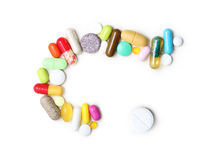 Pills, various pharmaceuticals isolated. On white background royalty free stock photography