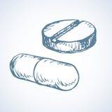 Pills. Vector drawing Royalty Free Stock Image