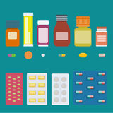 Pills vector set. Set of bottles of pills, isolated capsules and tablets, and pills in blister package. Vector elements for pharmaceutical and medical Stock Photography
