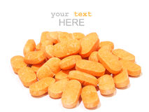 Pills of vitamin C on white background Stock Images