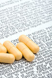 Pills with warning advisory Royalty Free Stock Photo