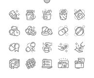 Pills Well-crafted Pixel Perfect Vector Thin Line Icons 30 2x Grid for Web Graphics and Apps. Simple Minimal Pictogram Royalty Free Stock Photo