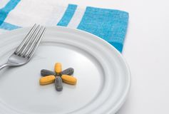 Pills on white plate Royalty Free Stock Image