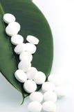 Pillules blanches sur une lame verte Image stock