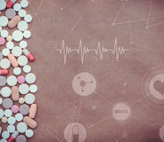 Pillules Comprimés médicinaux et icônes, graphiques et diagrammes médicaux Images stock