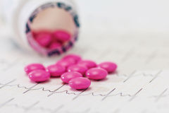 Pillules de douleur de médicament de prescription et bouteille de drogue Images stock